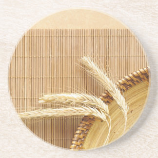 Wheat Ears On Wooden Plate Coaster