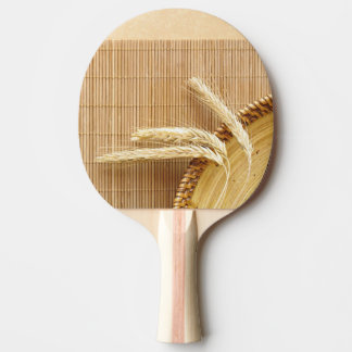 Wheat Ears On Wooden Plate Ping Pong Paddle