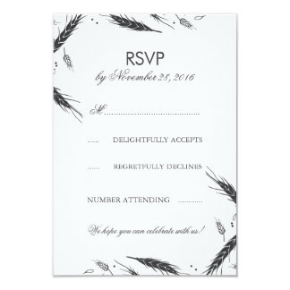 Wheat Fall Wedding RSVP 9 Cm X 13 Cm Invitation Card