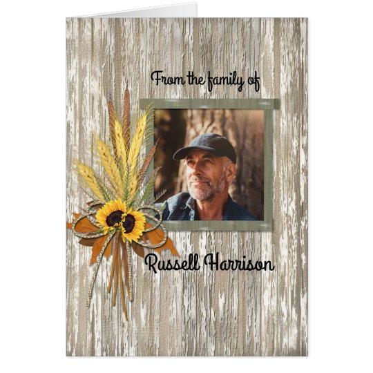 Wheat Farmer Photo Sympathy Thank You Memorial Card