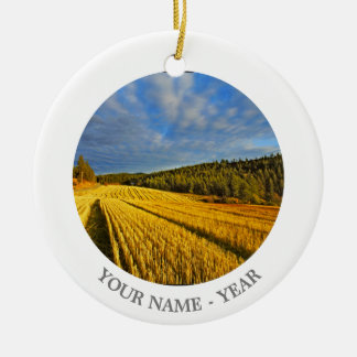 Wheat Field After Harvest 2 Round Ceramic Decoration
