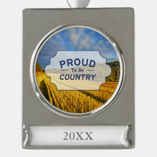 Wheat Field After Harvest Silver Plated Banner Ornament