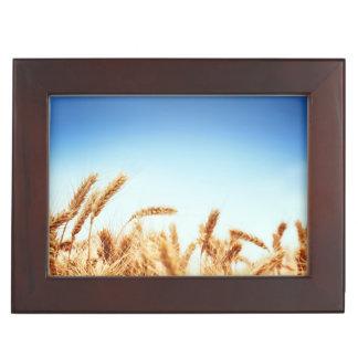 Wheat field against blue sky keepsake box