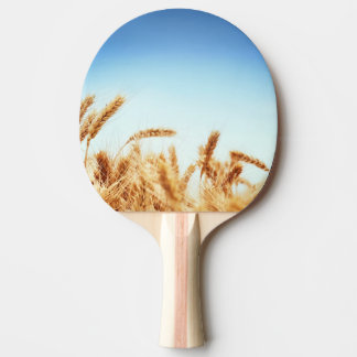 Wheat field against blue sky ping pong paddle