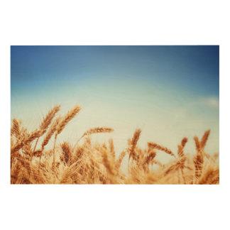 Wheat field against blue sky wood print