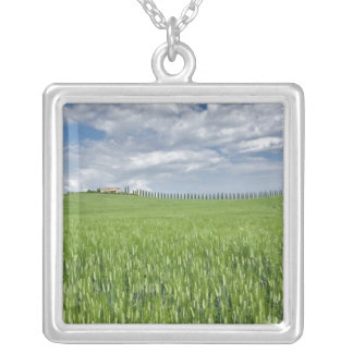 Wheat field and drive lined by stately cypress silver plated necklace