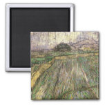 Wheat Field in Rain, Van Gogh Fine Art Square Magnet