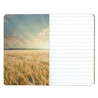 Wheat field on sunset journal