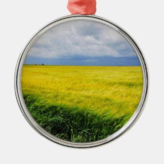 Wheat field Silver-Colored round decoration