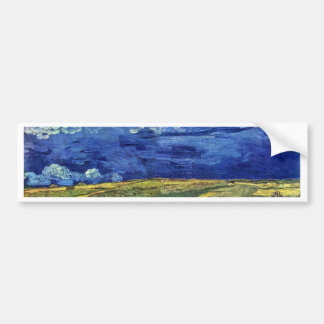 Wheat Field Under Clouded Sky By Vincent Van Gogh Bumper Sticker