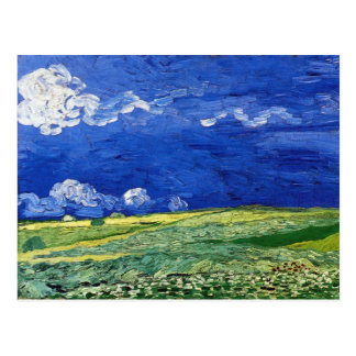 Wheat Field under Clouded Sky by Vincent van Gogh Postcard