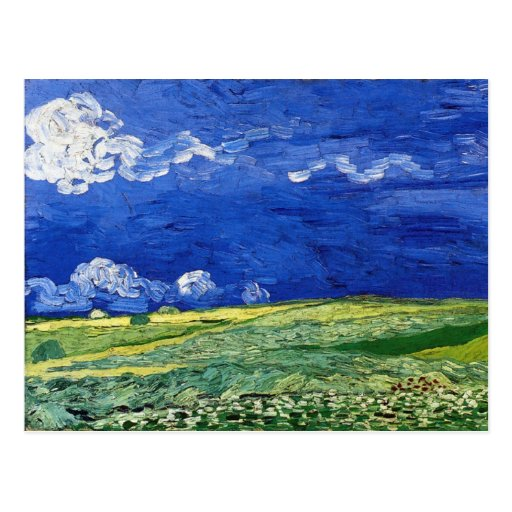 Wheat Field under Clouded Sky by Vincent van Gogh Post Card