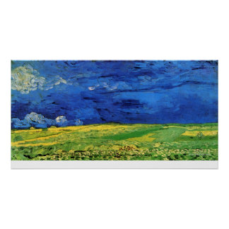 Wheat Field Under Clouded Sky by Vincent van Gogh Poster