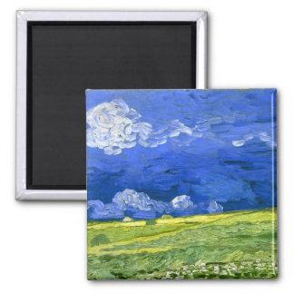 Wheat Field Under Clouded Sky Van Gogh Fine Art Square Magnet