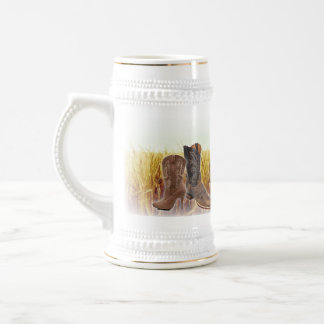 Wheat Field western country cowboy boots Beer Stein