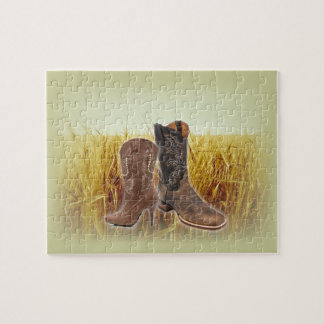 Wheat Field western country cowboy boots Jigsaw Puzzle