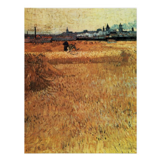 Wheat field with a view of Arles by van Gogh Poster