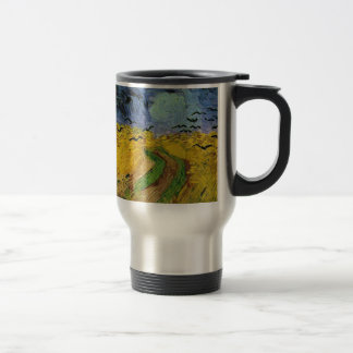 Wheat Field with Crows 15 Oz Stainless Steel Travel Mug