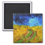 Wheat Field with Crows Van Gogh Fine Art Square Magnet