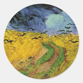 Wheat Field with Crows - Vincent Van Gogh Round Sticker
