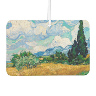Wheat Field with Cypresses by Vincent van Gogh Car Air Freshener
