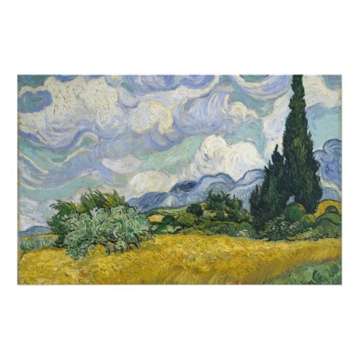 Wheat Field with Cypresses by Vincent van Gogh Flyer Design