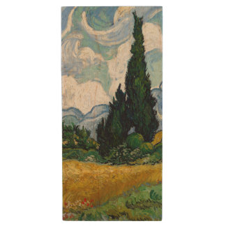 Wheat Field with Cypresses by Vincent Van Gogh Wood USB 2.0 Flash Drive