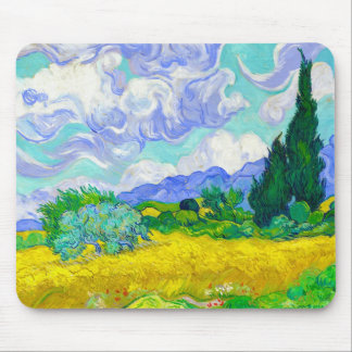 Wheat Field with Cypresses by Vincent Van Gogh Mouse Mat
