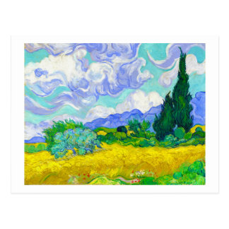 Wheat Field with Cypresses by Vincent Van Gogh Postcard