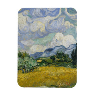 Wheat Field with Cypresses by Vincent van Gogh Rectangular Magnets