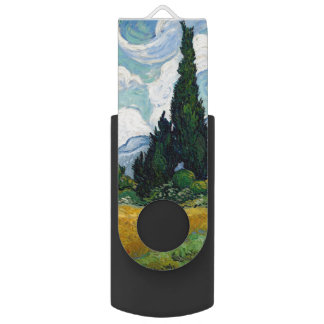 Wheat Field with Cypresses by Vincent Van Gogh Swivel USB 2.0 Flash Drive