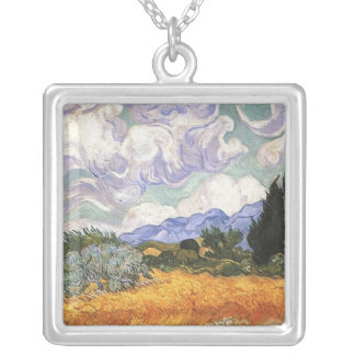 Wheat Field with Cypresses,Vincent Van Gogh Silver Plated Necklace