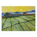 Wheat Field with Rising Sun Poster