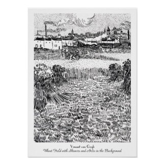 Wheat Field with Sheaves and Arles Vincent Gogh Poster