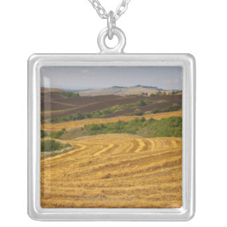 Wheat fields after harvest silver plated necklace