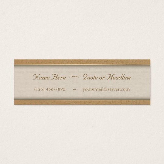 Wheat Gold Embossed Leaf Vines Mini Business Card