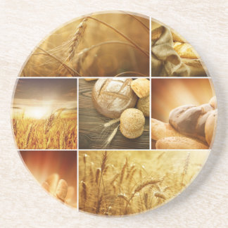 Wheat.Harvest concepts.Cereal collage Coaster