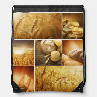 Wheat.Harvest concepts.Cereal collage Drawstring Bag
