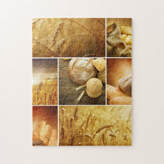 Wheat.Harvest concepts.Cereal collage Puzzles