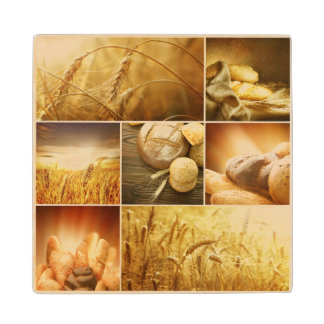 Wheat.Harvest concepts.Cereal collage Wood Coaster