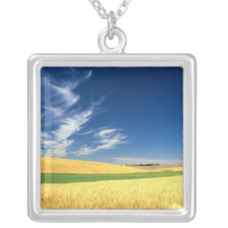 Wheat harvest on the Palouse in Eastern Silver Plated Necklace