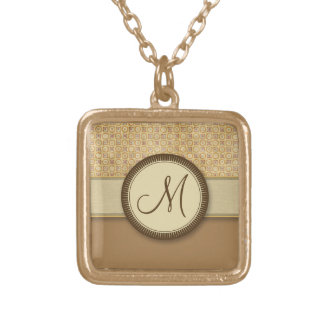 Wheat Sand Coin Pattern with Monogram Necklace