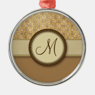 Wheat Sand Coin Pattern with Monogram Silver-Colored Round Decoration