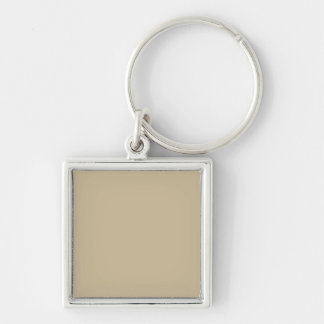 Wheat Solid Color Silver-Colored Square Key Ring