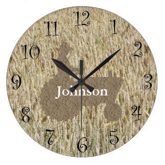 Wheat & Tractor Monogram Clock