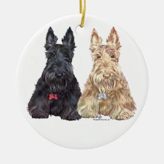 Wheaten and Black Scottie Dogs Christmas Ornament