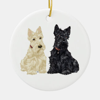 Wheaten & Black Scottie Dog Ornament