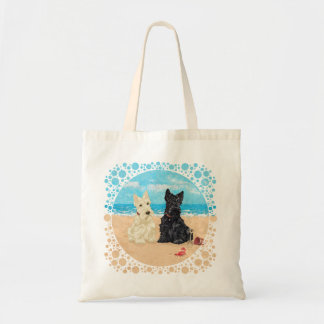 Wheaten & Black Scotties at the Beach Canvas Bags