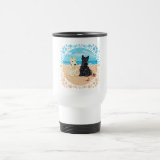 Wheaten & Black Scotties at the Beach Coffee Mugs