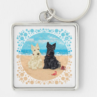 Wheaten & Black Scotties at the Beach Silver-Colored Square Key Ring